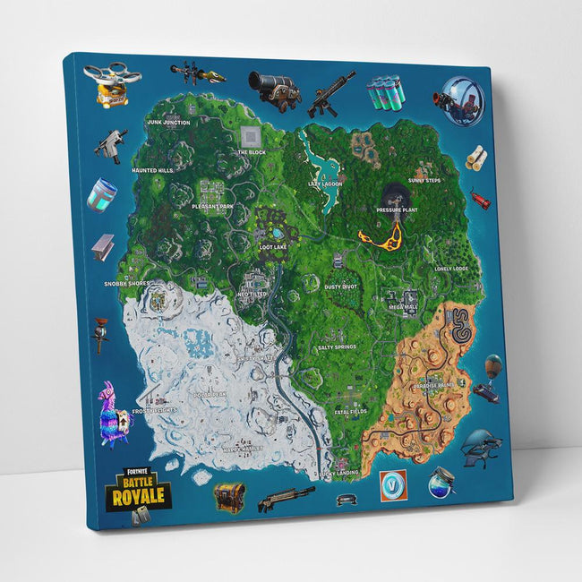 Fortnite Season 10 Map And Weapons Gallery Wrap Canvas Wall Art