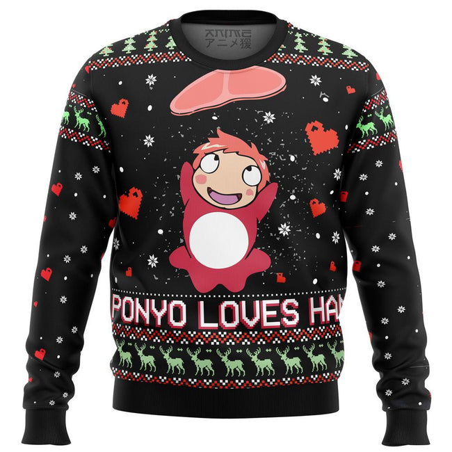 Ghibli Ponyo Loves Ham Premium Ugly Christmas Sweater