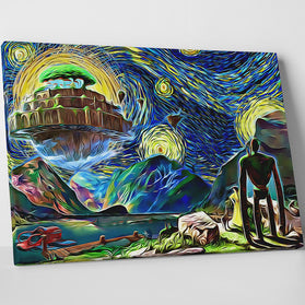 Ghibli Starry Night Castle In The Sky Canvas Wall Art