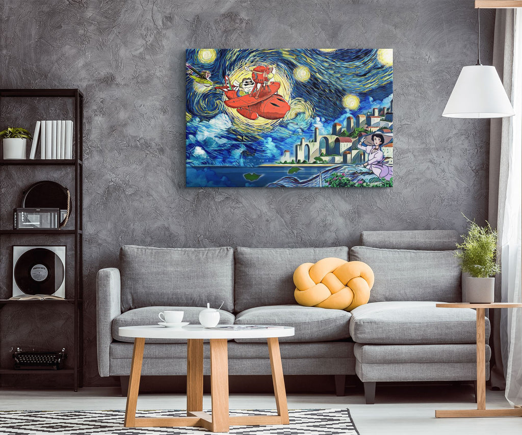 Ghibli Starry Night Porco Rosso Canvas Wall Art