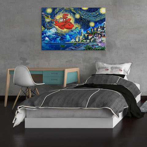 Image of Ghibli Starry Night Porco Rosso Canvas Wall Art
