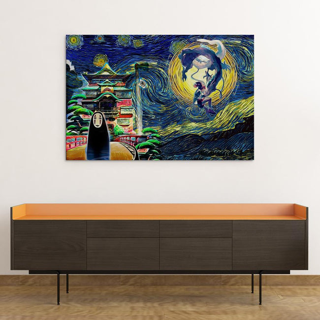 Ghibli Starry Night Spirited Away Canvas Wall Art