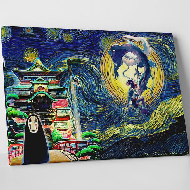 Ghibli Starry Night Spirited Away Canvas Wall Art Anime Ape