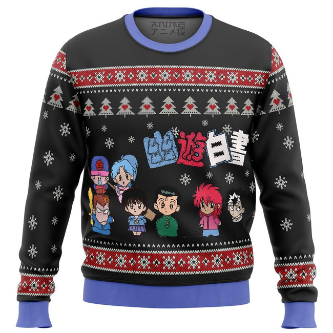 Ghost Fighter Yu Yu Hakusho Chibis Premium Ugly Christmas Sweater