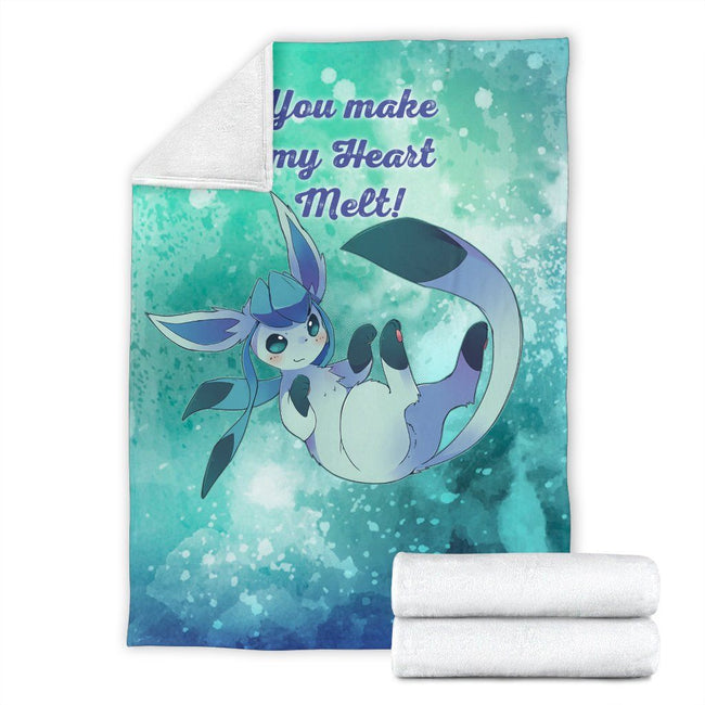 Glaceon Heart Melt Love Quote Fleece Blanket