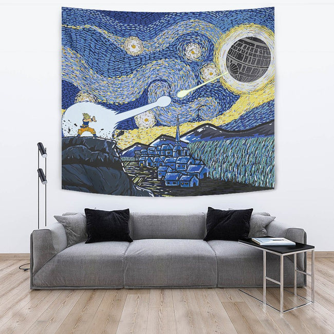 Goku vs Death Star Dragonball Z Starry Night Wall Tapestry