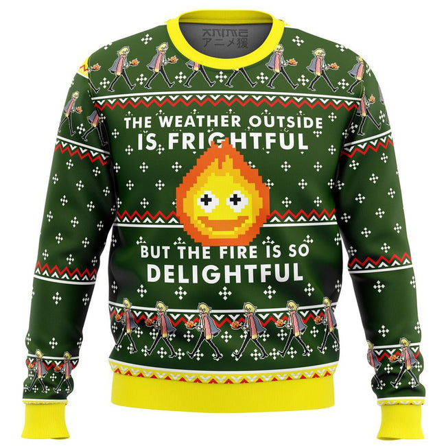 HOWLS MOVING CASTLE Calcifer Fire is so Delightful Premium Ugly Christmas Sweater