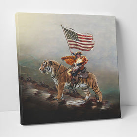Joe Exotic Crossing The Alps USA Flag Tiger King Deluxe Gallery Wrap Canvas Wall Art