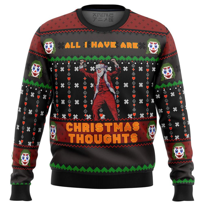 Joker All I Have are Xmas Thoughts Premium Ugly Christmas Sweater