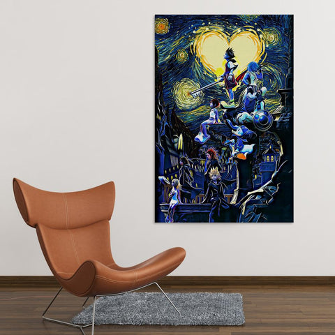 Image of Kingdom Hearts Starry Night Canvas Wall Art