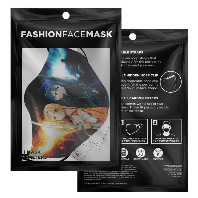 Kirito and Azuna V2 Sword Art Online Premium Carbon Filter Face Mask