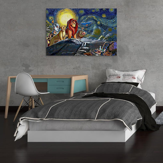 Lion King Starry Night Canvas Wall Art