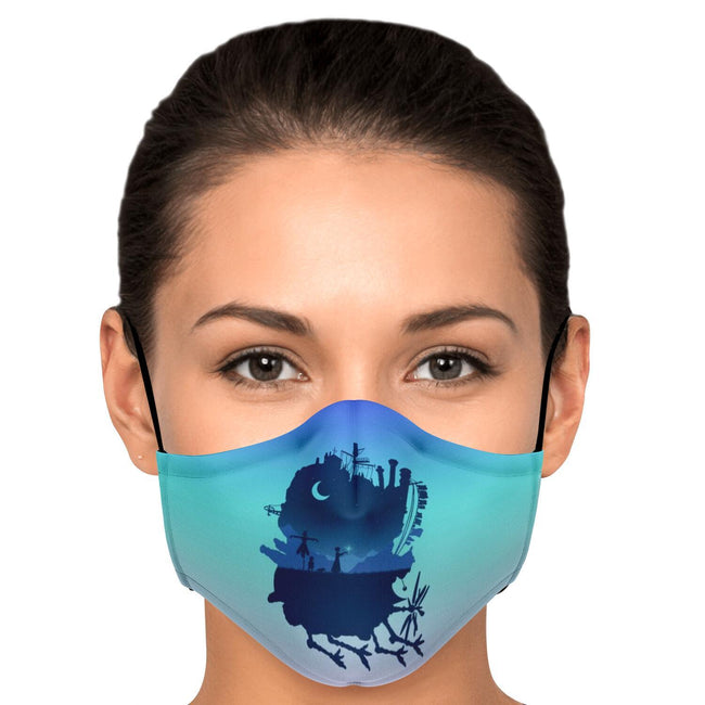 Magical Flying Castle Howl's Moving Castle Premium Carbon Filter Face Mask