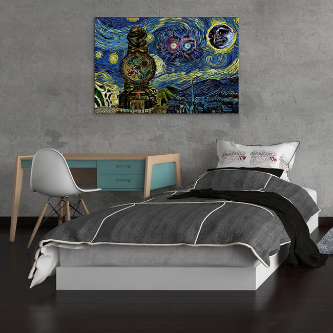 Majora's Mask Starry Night Clock Town Zelda Canvas Wall Art