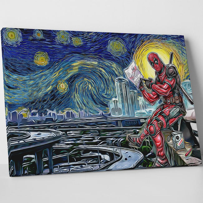 Marvel Starry Night Deadpool Canvas Wall Art