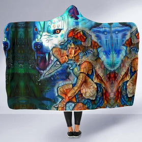 Raging Princess Mononoke Hooded Blanket