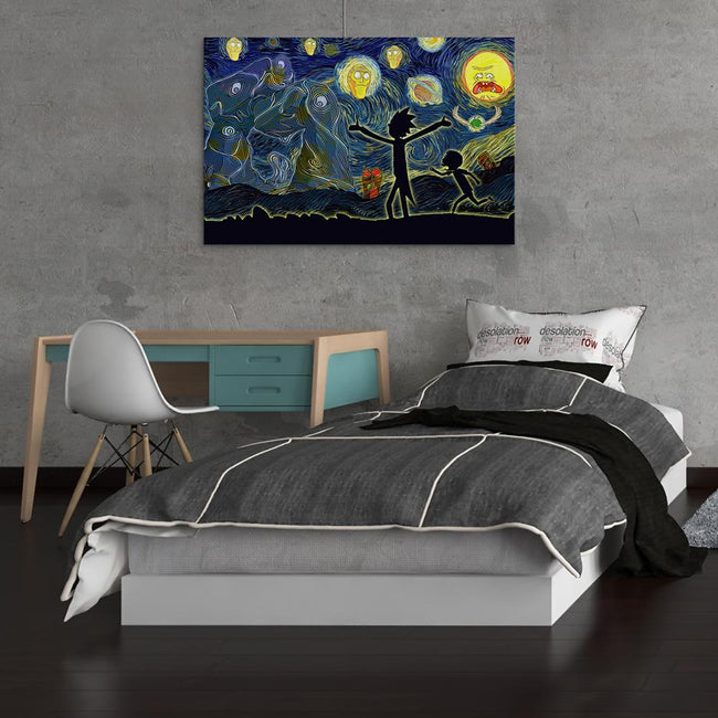 Rick And Morty Starry Night Canvas Wall Art