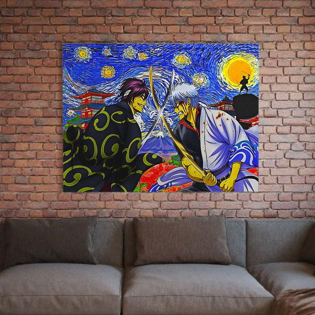 Samurai Warriors Gintama Starry Night Deluxe Gallery Wrap Canvas Wall Art