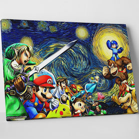 Smash Bros Starry Night Canvas Wall Art