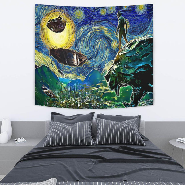 Starry night black panther Tapestry