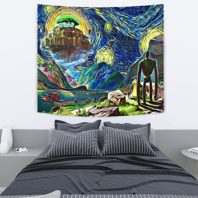 Starry Night Castle in the sky Tapestry