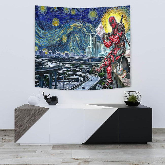 Starry night deadpool Tapestry