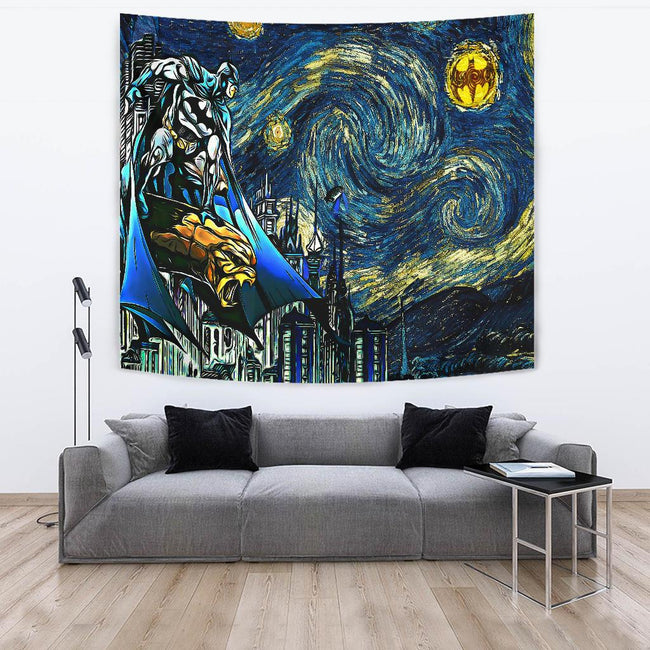 Starry night gotham - batman Tapestry