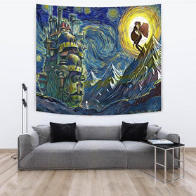 Starry Night howls moving castle Tapestry