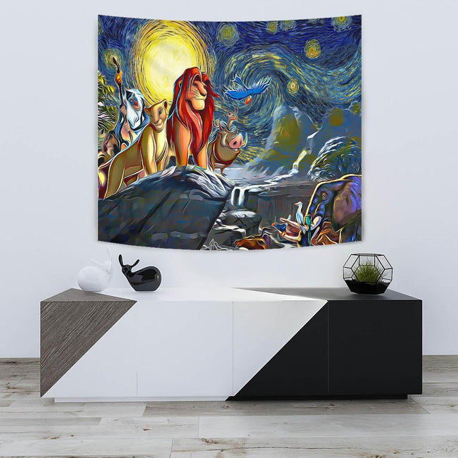 Starry night lion king Tapestry