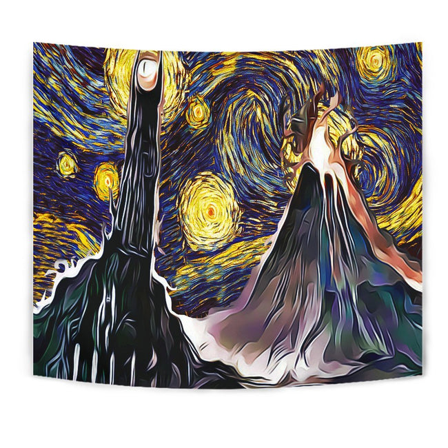 Starry night mordor - lord of the rings Tapestry