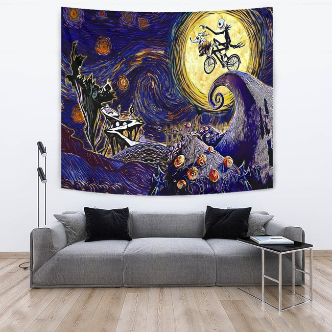 Starry night nightmare before christmas Tapestry