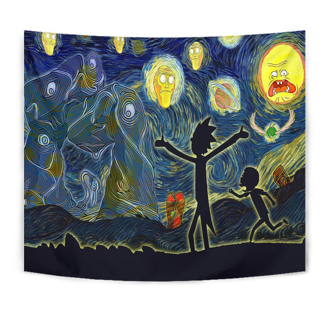 Starry night rick and morty Tapestry