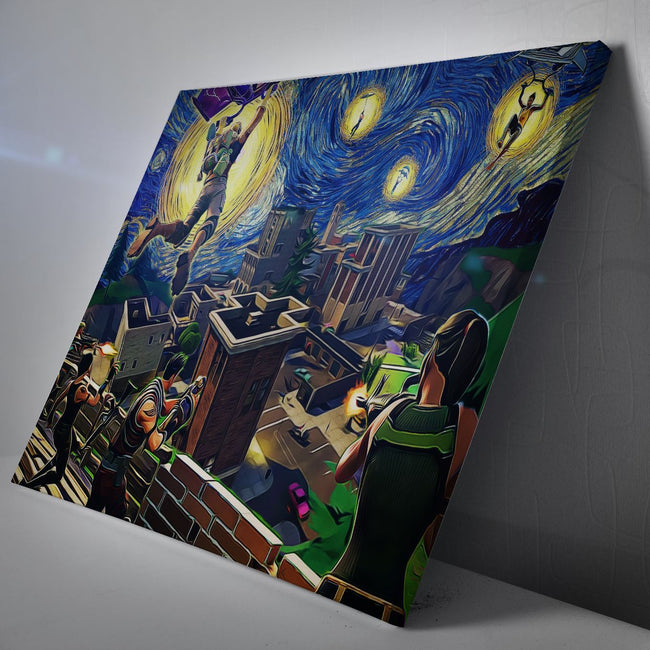Starry Night Tilted Towers Fortnite Canvas Wall Art