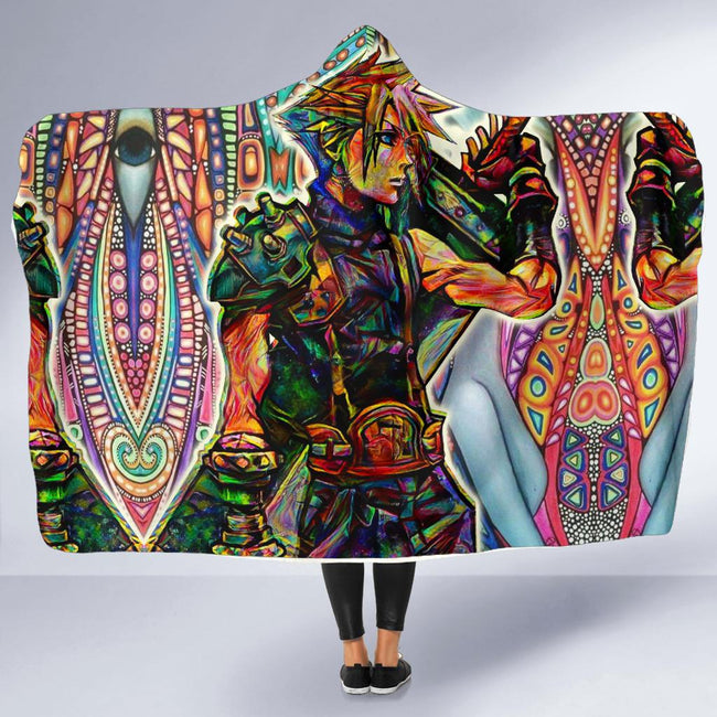Trippy Cloud Hooded Blanket
