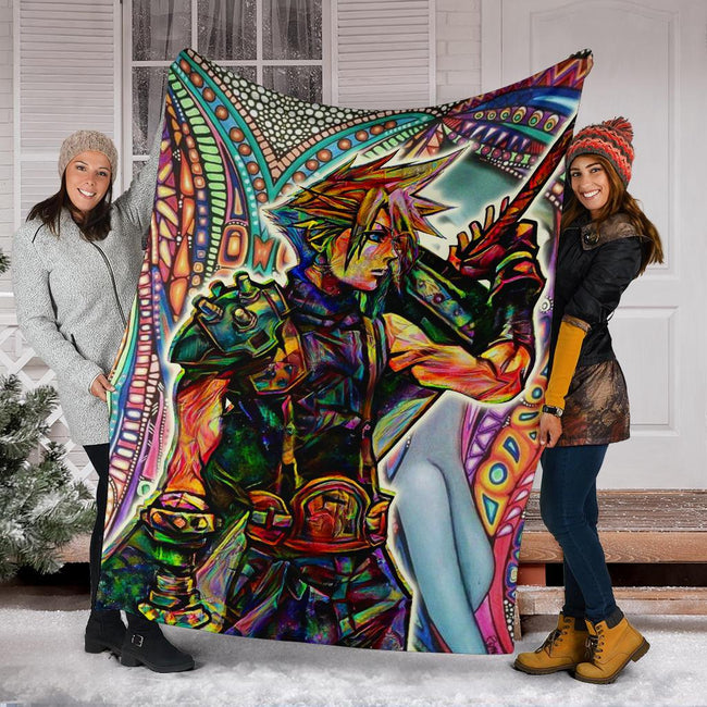Trippy Cloud Strife Final Fantasy VII FF7 Blanket
