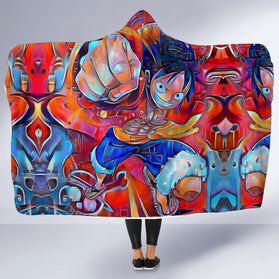 Trippy Luffy One Piece Hooded Blanket
