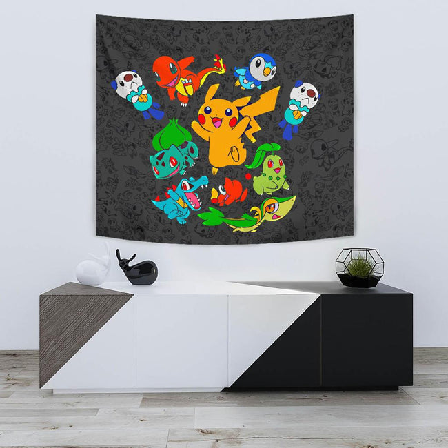 Vibing Pokemon Characters Wall Tapestry