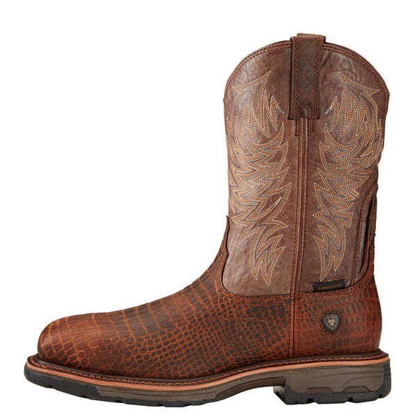 Ariat Brown Croc Print WorkHog Wide Square Toe Composite Toe Work Boot