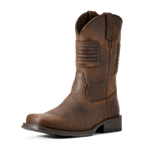 Ariat Distressed Brown Rambler Patriot Western Boot
