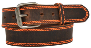 "3D 1 1/4"" Boys Brown Distressed Belt Neon Orange"