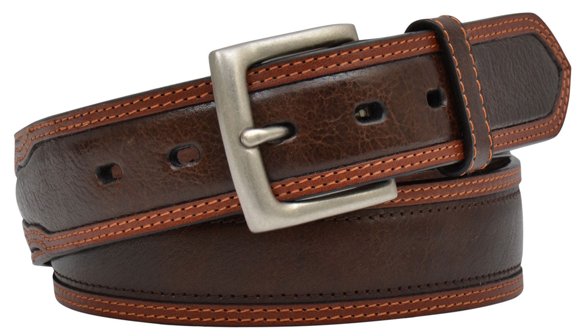 1 1/2 Brown with Tan Trim Men's Belt