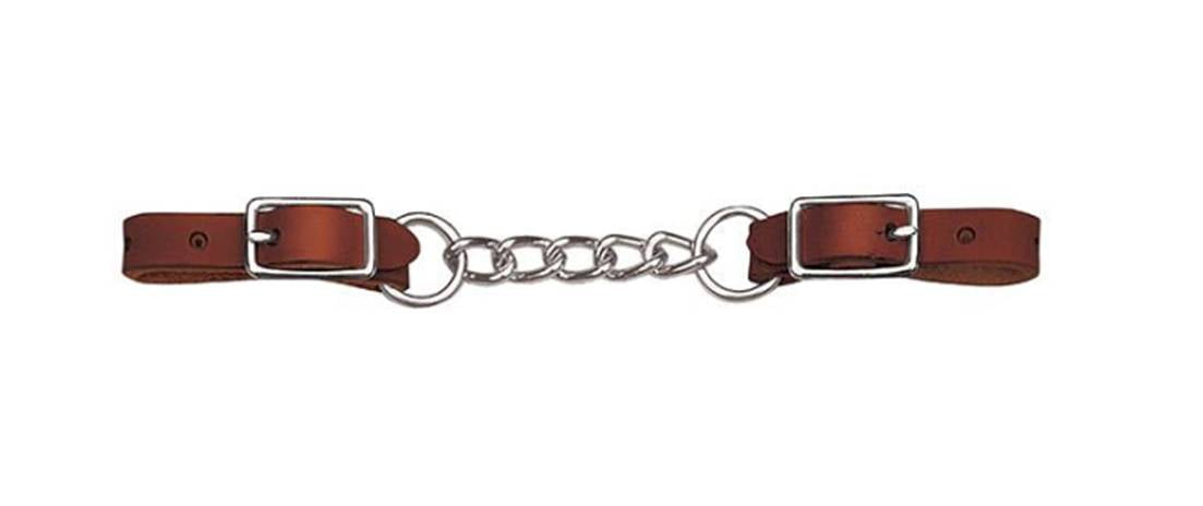 Bridle Leather Heavy-Duty Single Link Chain Curb Strap