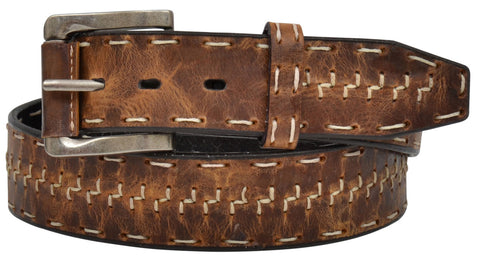 "1 1/2"" Men's Brown Distressed With Z Stitch Belt"