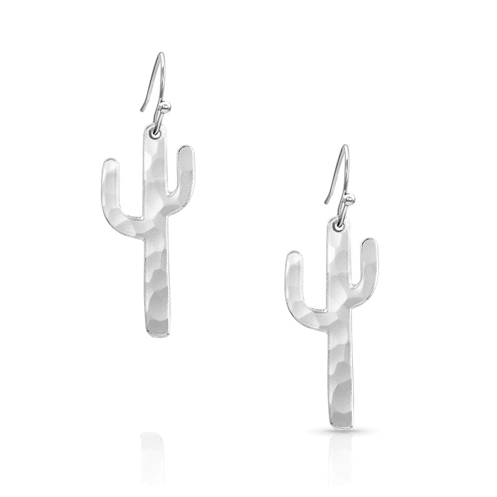 Hammered Silver Cactus Earrings