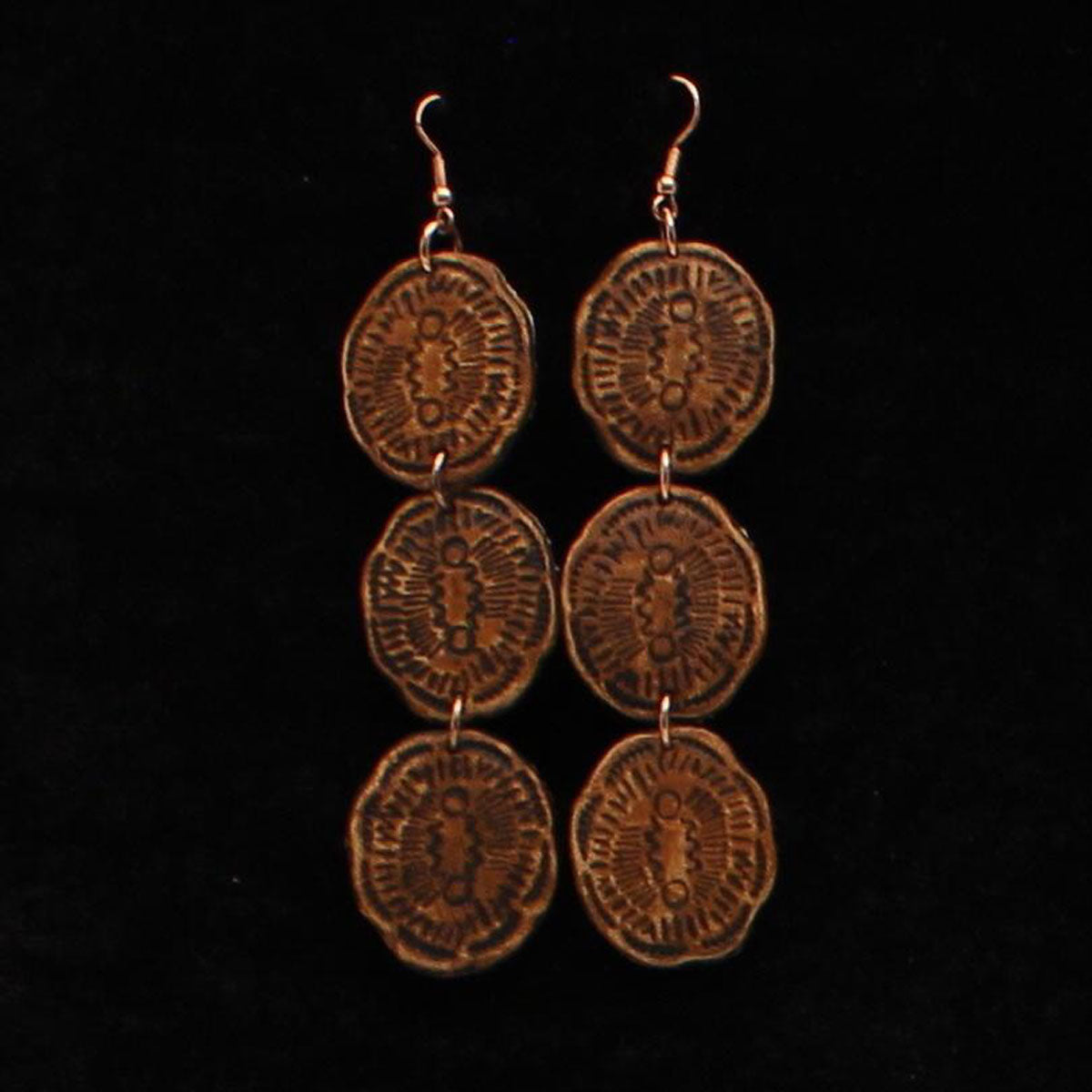 Brown leather 3 tier earrings