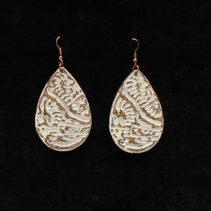 Leather Stamped Teardrop Earrings