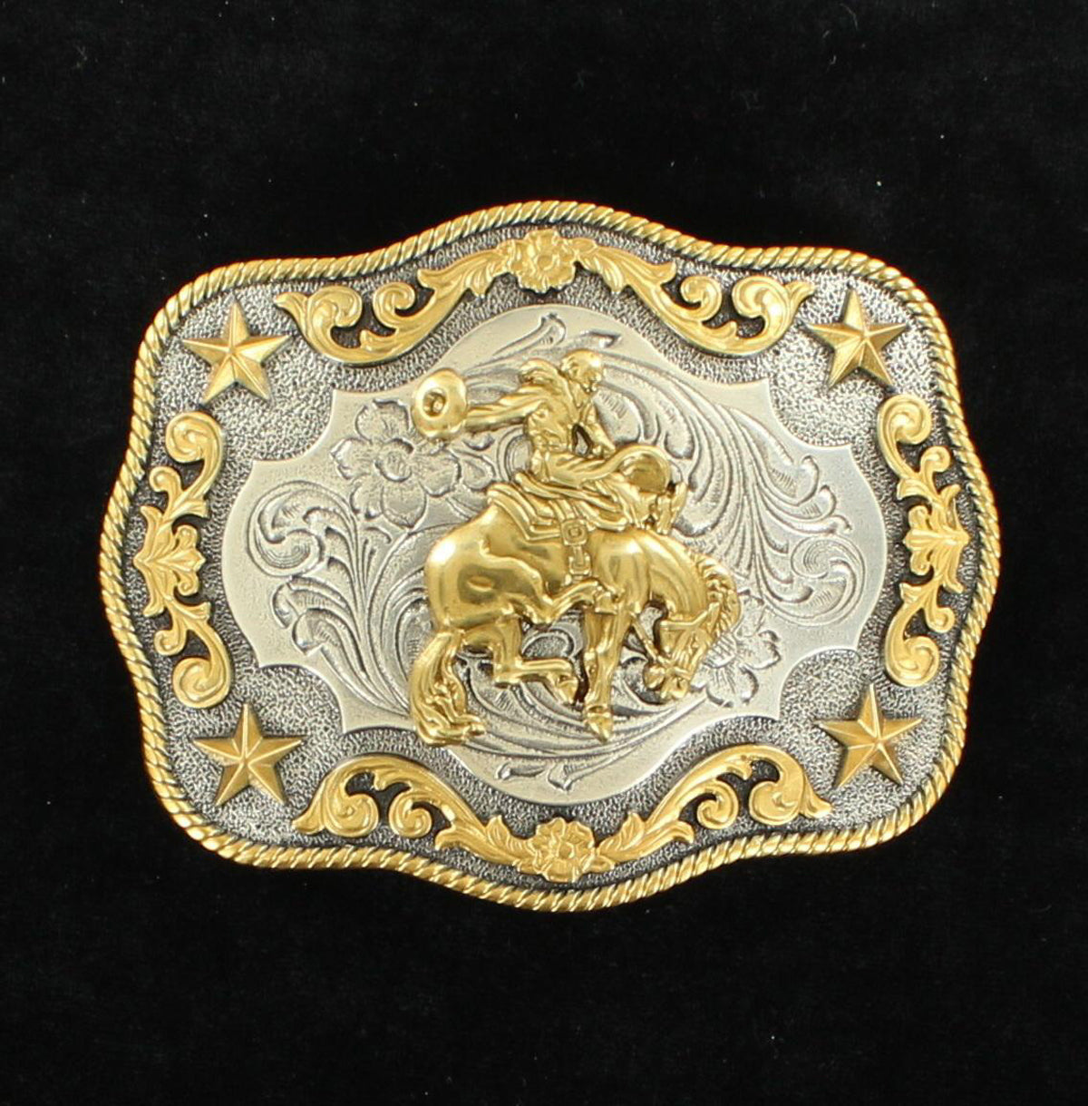 Nocona Men's Antique Silver and Antique Gold Buckle Saddle  Bronc