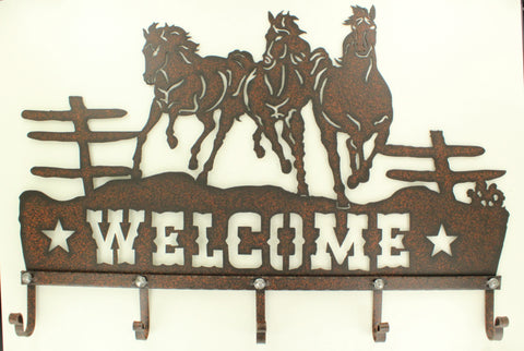 Welcome Wall Hooks Horses