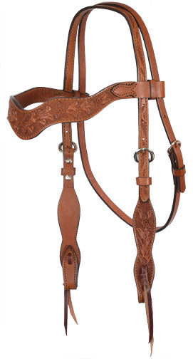 Wave Shaped Tooled Headstall