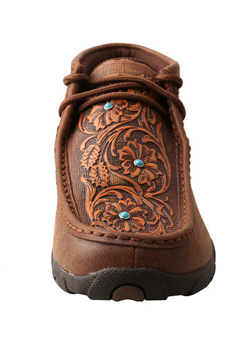 Women's Driving Moccasin Brown/Tooled Flowers